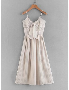 Knot Front Striped Cami Dress by Sheinside