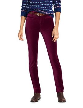 Women's Mid Rise Velvet Slim Leg Pants by Lands' End
