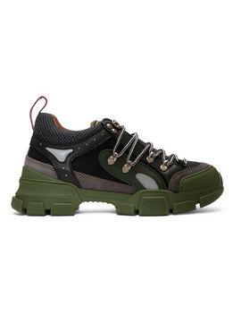 Green & Grey Flashtrek Sneakers by Gucci