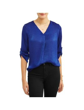 Alison Andrews Women's 3/4 Sleeve Rolled Cuff Washed Satin Shirt by Alison Andrews