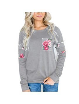 Casual Women T Shirts Blouse Long Sleeve Round Neck Shirt Women's Clothing Floral Printed Pocket by Sexy Dance