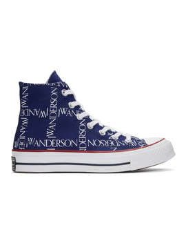 Blue Converse Edition Grid Logo Chuck 70 High Top Sneakers by Jw Anderson