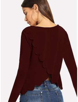Scallop Trim Tulip Back Top by Shein