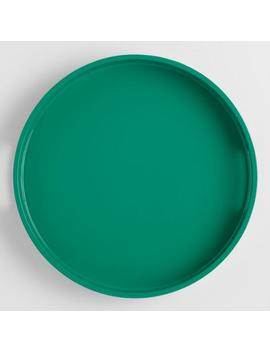 Small Round Green Lacquer Serving Tray by World Market