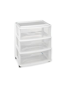 Homz Plastic 3 Drawer Wide Cart, White Frame, Clear Drawers, 4 Casters Included, Set Of 1 by Homz