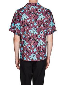 Striped Floral Bowling Shirt by Prada