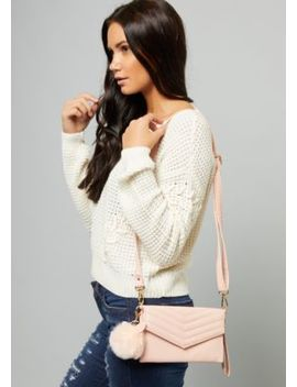 Pink Chevron Pom Pom Crossbody Bag by Rue21