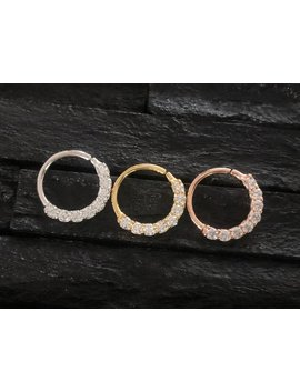 Cz Diamond Horizontal Eternity Hoop Daith Earring / Cartilage / Septum Ring / Nose Ring by Etsy