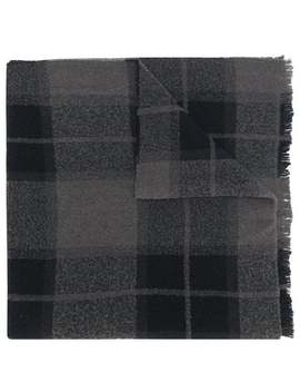 Long Checked Scarf by Rick Owens