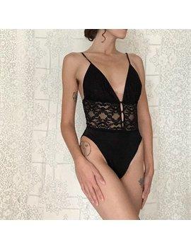 90's Black Lace High Cut Bodysuit, Small   Medium by Etsy