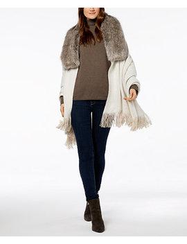 Reversible Faux Fur Collar Poncho by Lauren Ralph Lauren