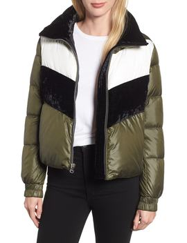 Chevron Stripe Puffer Jacket by Marc New York