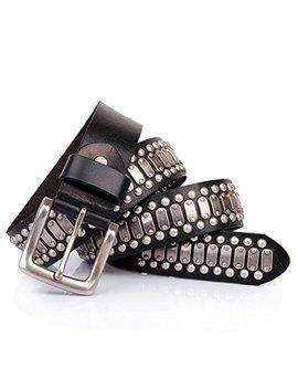 Punk Rock Studded Belt Leather Black by Laticci