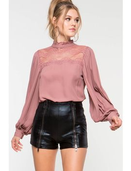 Christine Lace Mock Neck Blouse by A'gaci