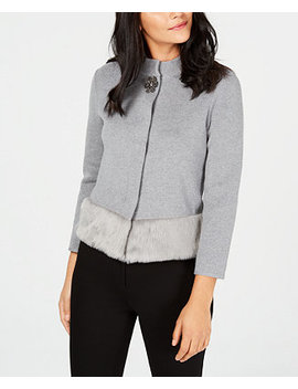 Faux Fur Trim Sweater Jacket, Created For Macy's by Jm Collection