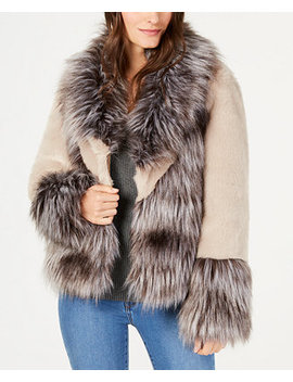 I.N.C. Mixed Materials Faux Fur Jacket, Created For Macy's by Inc International Concepts