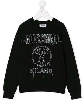 Logo Embroidered Sweatshirt by Moschino Kids
