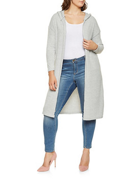 Plus Size Hooded Knit Duster by Rainbow