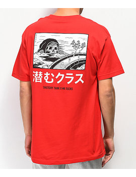 Lurking Class By Sketchy Tank X Mr. Tucks Lurker Red T Shirt by Lurking Class By Sketchy Tank