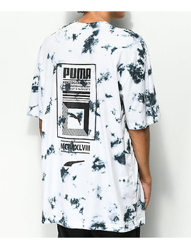 Puma Tower Logo Black & White Tie Dye T Shirt by Puma