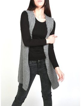 Hand Knit Long Vest Sweater Wool Cardigan Grey Woman Sweater by Etsy
