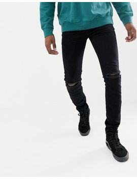 Sixth June Skinny Jeans In Black With Knee Rip by Sixth June