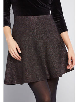 Shimmer And Shake Metallic Skirt by Modcloth