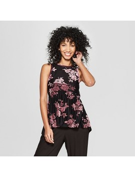 Women's Sleeveless Velvet Burnout Peplum Top   Knox Rose™ Black by Knox Rose