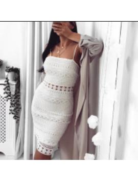 Lacey Midi Dress White by Fashion Drug