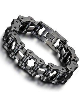 Flongo Men's Biker 18mm Wide Stainless Steel Heavy Motorcycle Chain Bicycle Link Bracelet, 9.13 Inch by Flongo