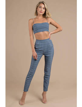Plaid All Around Blue Multi Cigarette Pants by Tobi