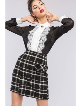 Missy Classy Tweed Mini Skirt by A'gaci