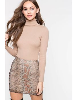 Snake Print Mini Skirt by A'gaci
