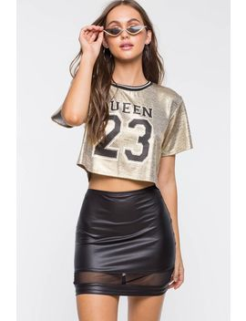 Leather Mesh Mini Skirt by A'gaci