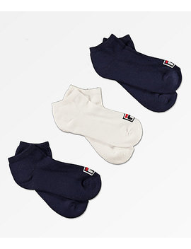 Fila 3 Pack Box Logo No Show Socks by Fila
