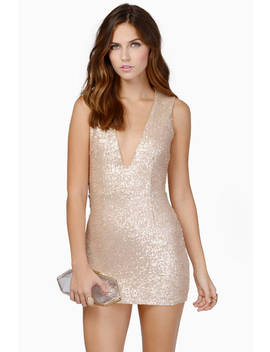 Gwyn Sequin Bodycon Dress&Nbsp;In Matte Gold by Tobi