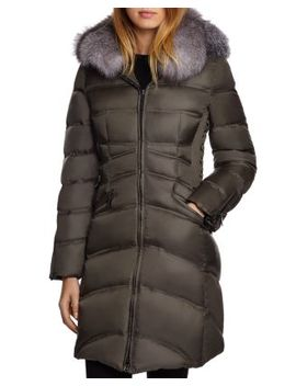 Cloe Saga Fur Trim Mid Length Down Coat by Dawn Levy