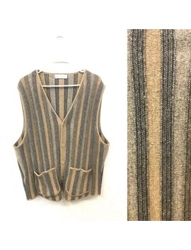 Vintage 90's Earth Tone Striped New Wool Sweater Vest Men's Size Large Listing 7707 by Etsy