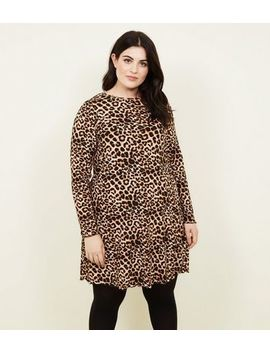 Curves Leopard Print Long Sleeve Dress by New Look