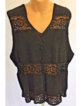 Boho Womens Vest Xl Suede Crochet Black Button Front Fred Thomas by Fred Thomas