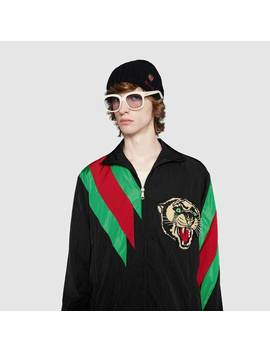 Oversize Nylon Jacket With Web Intarsia by Gucci
