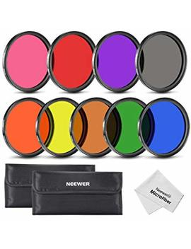 Neewer 58 Mm Complete Full Color Lens Filter Set (9pcs) For Camera Lens With 58 Mm Filter Thread   Includes: Red, Orange, Blue, Yellow, Green, Brown, Purple, Pink And Gray Nd Filters + Filter Carry Pounch + Microfiber Lens Cleaning Cloth by Neewer