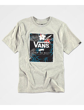 Vans Boys Print Floral Box Heather Grey T Shirt by Vans