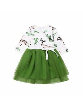 Little Girls Baby Princess Deer Dress Long Sleeve Tutu Tulle Dress For Party Or Birthday by Hirigin