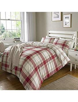 Check Stripe Tartan Ticking Duvet Set Quilt Cover Pillowcase Reversible Bedding[Check Red,Super King] by Check Red Duvet
