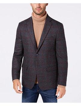 Men's Classic/Regular Fit Gray/Wine Windowpane Wool Sport Coat by Michael Kors