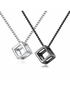 Inreng Men's Stainless Steel Simple Square Hollow Cube Charm Pendant Minimalist Couple Necklace by Inreng