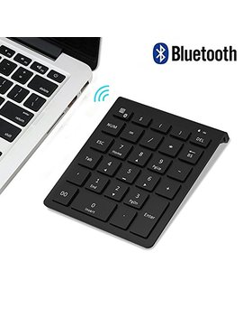 Bluetooth Number Pad, 7 Lucky Portable Wireless Bluetooth 28 Key Numeric Keypad Keyboard Extensions For Financial Accounting Data Entry For Smartphones, Tablets, Surface Pro, Windows, Laptop And More by 7 Lucky