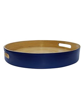 "South Asia Trading Medium Bamboo Wooden Serving Tray Handmade Round Circular – 12"" Wide By 1.75"" Tall – Blue Color By (5056) by South Asia Trading"