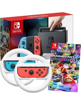 Switch 32 Gb Console With Neon Red/Neon Blue Joy Con Controllers, Mario Kart 8 Game And Joy Con Wireless Wheels Package by Nintendo